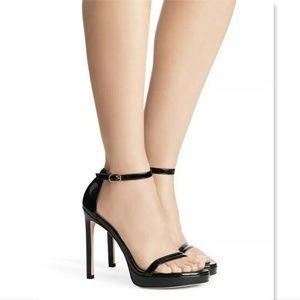 New STUART WEITZMAN Black Platform Strap Pumps 5